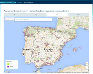 Red de cobertura 4G movistar en España